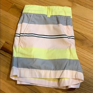 Loft 0 flat front striped shorts women's